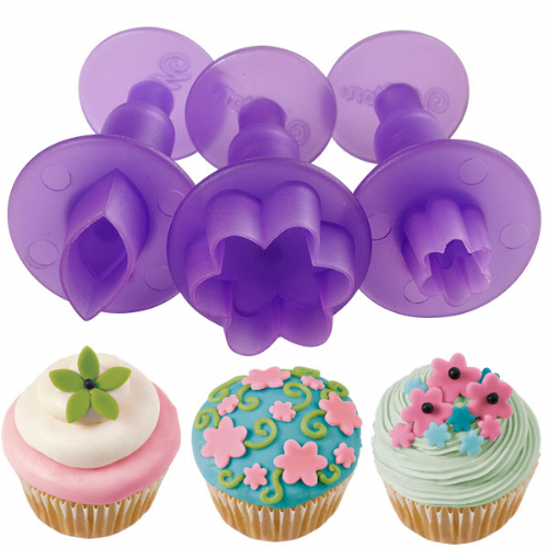 Flower and Leaf Mini Fondant Cut-Outs Set